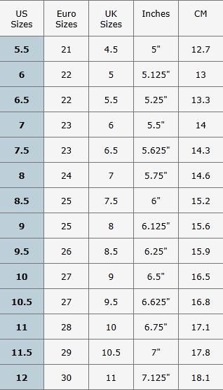 Таблица размеров обуви US, UK, европейский стандарты