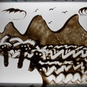 Рисование на световом столу песком